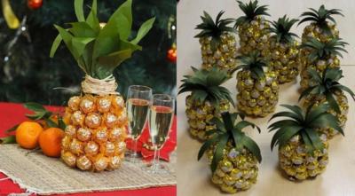 Оригинально и практично: как соорудить ананас из конфет и шампанского своими руками и где купить такую поделку?