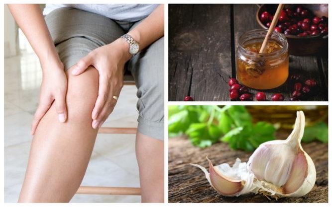 Мед и чеснок для лечения колен