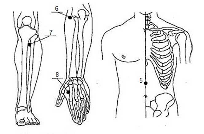 Точки для массажа гастрита с пониженной кислотностью